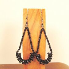 "2 1/2"" Long Shiny Black Color Teardrop Hoop Handmade Seed Bead Dangle Earring"