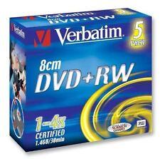 VERBATIM DVD+RW 1.4 Gb 8cm 4x Velocità 30min TELECAMERA MINI DISCHI DVD PACK 5 (43565)