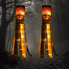 2 Pack Halloween Pumpkin Windsock Flag with Warm Yellow LED Lights Outdoor Happy