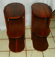 Pair of Solid Walnut Mid Century 3 Tier End Tables / Side Tables  (T453)