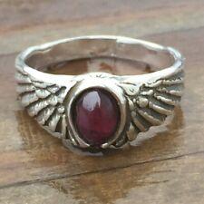 Eagle Wing Ring .925 Sterling Silver small Sz 6 w/ Genuine Garnet gemstone