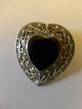 Vtg Art Deco Filigree Silver Tone Metal Black Enamel Heart Shape Brooch 1.25""