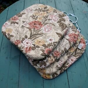 Set of Four Vintage Floral Garden Seat Cushions