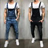 Skinny Jean Jumpsuits Men Distressed Denim Overalls Suspender Trousers Bib Pants
