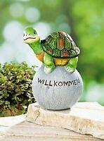 Gartenkugel Schildkröte Willkommen Deko Gartenfigur Dekoration Garten 1A NEU