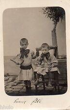 BL038 Carte Photo vintage card RPPC Enfant mode fashion ecole tablier prix