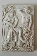 Vecchia formella ceramica bassorilievo a smalto bianco, bottega Gatti Faenza