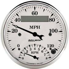 "Auto Meter 1681 3-3/8"" Tachometer/Speedometer Combo Gauge Elec.  Old-Tyme White"