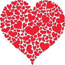 San Valentino Cuore di Cuori Adesivo Decalcomania Pareti, computer portatili, SEGNALETICA TARGA 21 cm