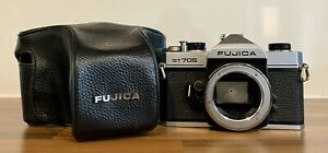 Fujica ST705 SLR 35mm Film Camera Body & Leather Case Only Working Order