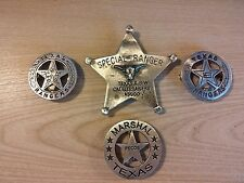 4 BADGES--2 TEXAS RANGERS 1 PECOS MARSHAL 1 SPECIAL RANGER POLICE  FREE SHIPPING