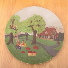 Decorative Porcelain Plate Picking Apples In Front Of House Wall Hanging
