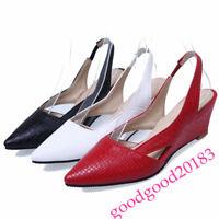 New Low Wedge Heel Women Dress Pumps Dress Pointy Toe Shoes Slingback Sandals 18