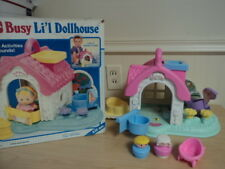 Vintage 1990 Playskool Dollhouse Busy Little Dollhouse with Fisher Price Pieces