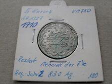5 Kurush 1910 Kurus Piaster Silber Münze Ottoman Silver Coin #180