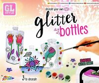 Decorate Your Own Paint Glitter Glass Bottles Glass Kids Art Craft Set Kit R0687