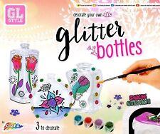 Decorate Your Own Paint Glitter Glass Bottles Glass Kids Art Craft Set Kit R0687