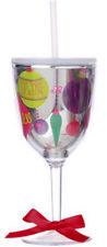 Slant SPARKLE ORNAMENTS 13oz Double-Wall Wine Glass w/Straw  S119027