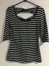 New Bardot Brand Womens Size 10 Strip/Bow Top Shirt