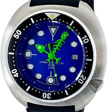 Diver Watch Mod with BIG 49mm TURTLE Case - Fishbone Hand Set on Blue MOP Dial