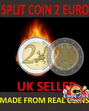 CLOSE UP MAGIC €2 SPLIT COIN - 2 EURO SPLIT COIN MAGIC TRICK COIN THROUGH BAG