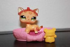Littlest Pet Shop #1120 Leopard Shorthair Cat Green Eyes cheetah orange lot rare