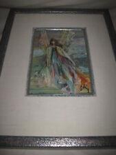 Ann Cushing Gantz Praying Angel Painting Framed Listed Texas Artist Original