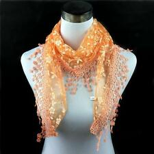 Women Lady Lace Tassel Sheer Floral Print Veil Church Mantilla Scarf Shawl Wrap