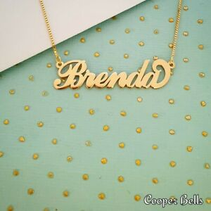 Real Gold Name Necklace / Order Any Name! USPS TRACKING! Personalized Chain 14k