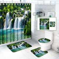 180*180cm Polyester Bath Shower Curtain Waterfall 3pcs Carpets Bathroom Mat Set