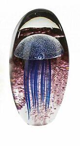 Beautiful XL Art Glass Dome Underwater Jellyfish Blue Sculpture
