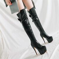 Sexy Lackleder Damen Overkneestiefel Platform Hochabsatz Boots Gr:33-48 Europa