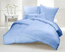 Bettwäsche 135 x 200 Hell Blau Uni Mako Satin 100% Baumwolle Einfarbige Garnitur