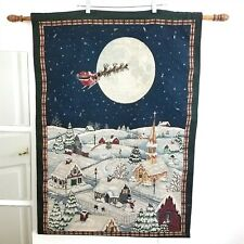Christmas Tapestry Wall Hanging With Lights And To All A Good Night Santa Claus