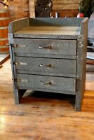 Antique Apothecary Cabinet 3 Drawers Wood side Table Kitchen Island table bench
