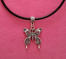 Black Leather Choker Necklace with Butterfly Charm - New - UK Seller