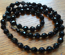 Vintage Deco faceted French Jet black glass longline necklace