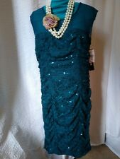 My Michelle Green Sparkles Dress. New with Tag XL (petite). Stretch Sleeveless