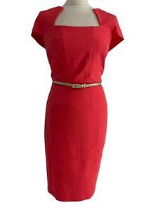 DUNNES Women's Pencil Dress Orange Belted Lined Work Formal Office Size 14