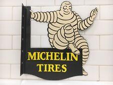 VINTAGE MICHELIN TIRES PORCELAIN DOUBLE SIDED FLANGE SIGN GAS OIL PUMP PLATE