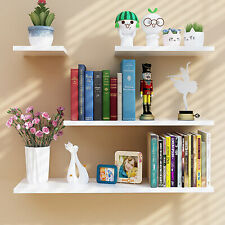 4pcs Wooden Floating Wall Shelves White Black Kid Bedroom Living Room Decorative