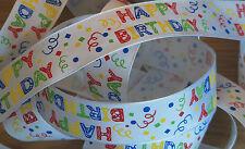 1m Wire Edged Birthday Ribbon. White With Multi-Coloured HAPPY BIRTHDAY design