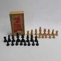 Vintage Staunton Boxwood House Martin Complete Chess Set w Storage Box