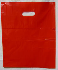 "100 12"" x 15"" Red GLOSSY Low-Density Plastic Merchandise Bags"