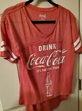Drink Coca-Cola It's the Real Thing Jr Jersey Top cotton/poly sz L (11-13) New