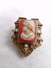 VICTORIAN ETRUSCAN GOLD FILLED CARVED HARD STONE CAMEO & PEARL ACCENT PIN