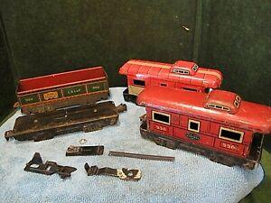 Marx O/O27 caboose and gondola  parts shells frame couplers