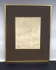"""1970 Salvador Dali Etching """"Autumn"""" w/ Vintage Metal Frame - Estate Find"""