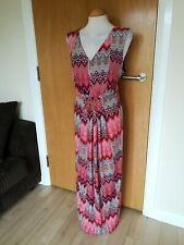 Ladies BM Dress Size 20 Long Maxi Stretch Party Evening Coral Red