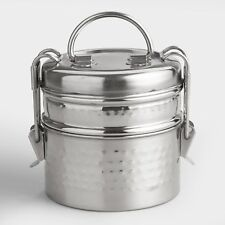 Hammered Metal Tiffin Stacking Lunch Box ~ Stainless Steel 2-Tier Compartments